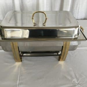 Chafer - Rectangle - 8 Quart - Lidded - Gold Trim